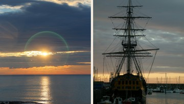Stunning Scarborough - Sunrise and Tall Ship HMS Endeavour in Scarborough harbour