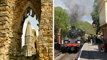 Stunning Scarborough - Scarborough castle and North Yorkshire Moors railway at Goathland Station